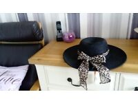 Black hat with animal print chiffon. Suit holiday or wedding guest or other