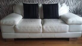 White Italian Leather 2 seater sofa