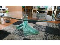 Solid glass spiral coffee table