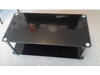 Black tempered glass coffee table/tv stand