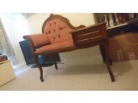 Wood Vintage Telephone Table Seat