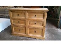 Pine 6 drawer chest