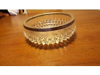 Antique, vintage, crystal, cut glass bowl with SILVER plated rim
