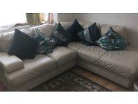 URGENT Cream/white leather corner sofa