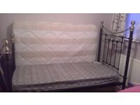 metal black and gold single bed with matress. excellent condition.