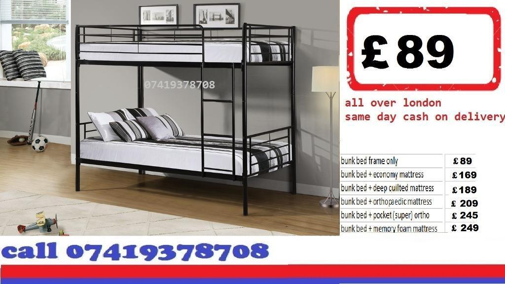 METAL BUNK BED WITH Mattressesin Redbridge, LondonGumtree - Qauaulity Can be Senn available and deliver same day You will get it today single,double divan beds are available