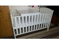 White Wooden Cot-bed & Mattress