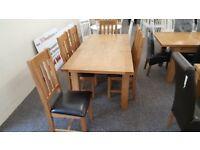 Julian Bowen Astoria Extending Oak Dining Table & 6 Astoria Dining Chairs Can/Del ViewHucknall Nottm