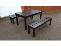 Ikea BJURSTA Extending Table 175cm - 260cm & 2 Benches FREE DELIVERY (03083)