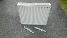 Double Radiator 700 x 600 x 100 Complete with wall brackets
