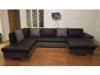 Corner Sofa Bed with Storage – Eco Leather Black/Gray