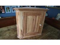 Solid Vintage Pine Corner Wall Cabinet