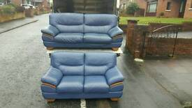 3 + 2 blue leather sofa with oak wood trim £299 delivered