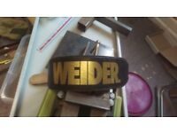 Weider weight lifter body builders belt in heavy leather