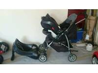 Graco 3 in 1 pushchair pram stroller car seat - baby child