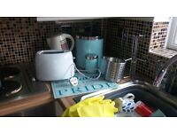 selection of pale blue kitchen accessories