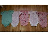 Brand New Lot of 5 Baby Girls Bodysuit Size 9-12 Months