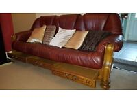 Solid Oak Framed Three Seater Settee and Two Single Red Leather Chairs All with Drawers