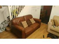 Brown full leather 2 seater sofa