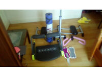 Leg magic, ab machine, yoga mat, 1 kg gears and a thigh and arm toner for only 50 pounds