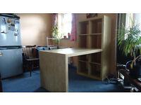 Large Ikea desk and shelves combination