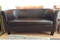 2-Seater Chocolate Brown Leather Sofa