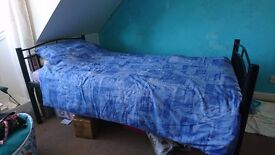 Metal framed Single bed & Mattress!!!