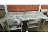 Large garden table and four chairs