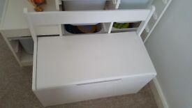 White wooden toy box/seat