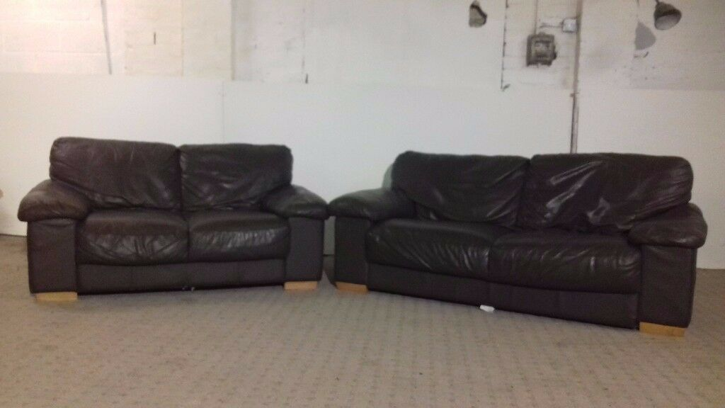 2 & 3 Seater Leather Brown Sofa - DELIVERY AVAILABLE