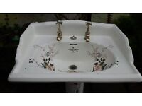 sanitan victorian decorated basin and pedestal with taps