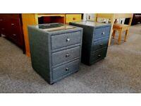 Julian Bowen Sorrento 3 Drawer Fabric Slate Grey Linen Bedside Tables £80 Each Can Deliver