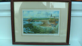 Print of Cullercoats harbour by J.B. Lindsay - professionally framed.
