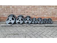 BODYMAX RUBBER TRI GRIP 140KG OLYMPIC WEIGHTS SET WITH 6FT or 7FT BAR