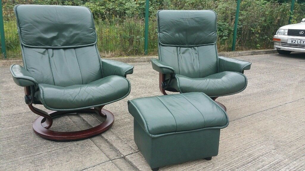 ekornes stressless 2 x swivel recliner green leather chairs deluxe