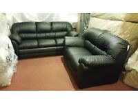 ITALIAN HAIFA 3+2 BONDED LEATHER SOFA IN BLACK BRAND NEW STUNNING QUALITY AND PRICE £525