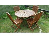 Garden table and 4 chairs set / folding wooden patio furniture