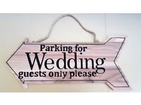 Wooden Decorative Wedding Arrow Sign 'Parking for wedding guests only please'