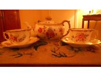 Dresden Hammersley China Teapot, Two Cups & Saucers Shabby Chic Vintage Floral Roses