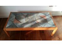 Large wooden coffee table with tiled top, originally from Leekes of Melksham
