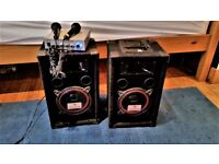 Karaoke Equipment - Entry level - 2 Mics, 100w amp and 2 speakers