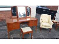 Stag dressing table with mirror and matching fire side chair