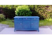 Stunning Vintage Sideboard. Shabby Chic, Aubusson Blue & Florence Green. Delivery Available.