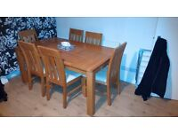 SOLID OAK DINING TABLE AND 6 CHAIRS BROUGHT FROM JOHN LEWIS