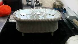 Shabby chic wicker coffee table
