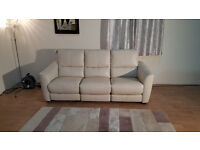 Ex-display Trilogy cream leather electric recliner 3 seater sofa