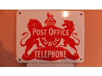 rare vintage post office public telephone enamel sign