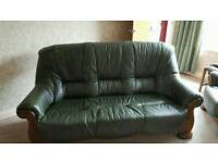 Green leather and solid oak suite and 2 chairs
