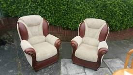 2 cream and Brown Italian leather armchairs