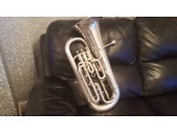 VERY RARE VINTAGE TUBA FROM BOOSEY & CO SILVER PLATED IMPERIAL MODEL SOLBRON REGISTERED